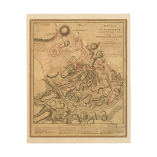 Battle of Brandywine American Revolution Map 1784 Wood Wall Decor
