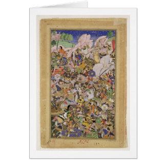 Battle of Bundi, from the Akbarnama, c.1590 (gouac Card