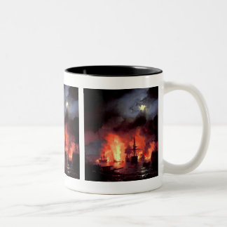 Battle of Cesme at Night Two-Tone Coffee Mug