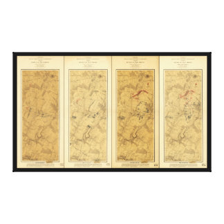 Battle of Gettysburg Field of Operations Map 1863 Canvas Print