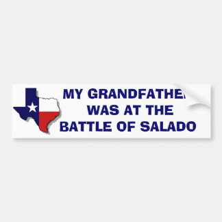 BATTLE OF SALADO BUMPER STICKER
