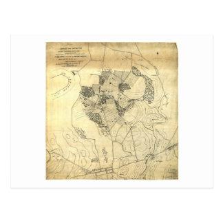 Battle of the Antietam Map September 16 & 17 1862 Postcard