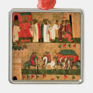 Battle of the Novgorodians with the Suzdalians Silver-Colored Square Ornament