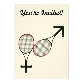 "Battle of the Sexes Tennis 5"" X 7"" Invitation Card"