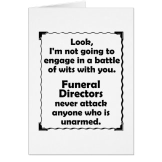Battle of Wits Funeral Director Card