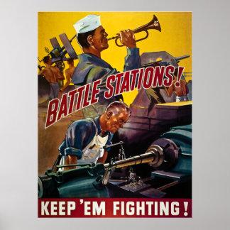 Battle Stations!  Keep 'Em Fighting! Vintage WW2 Poster