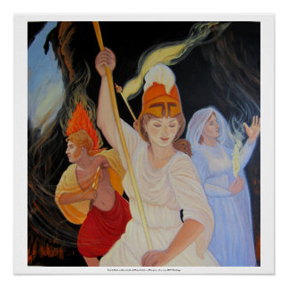Battle the Darkness: Athena, Apollo and Persephone Perfect Poster