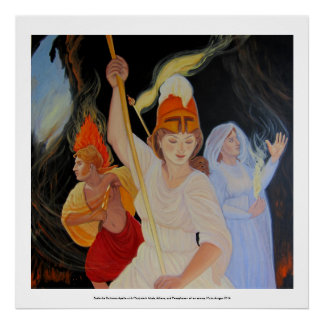 Battle the Darkness: Athena, Apollo and Persephone Poster
