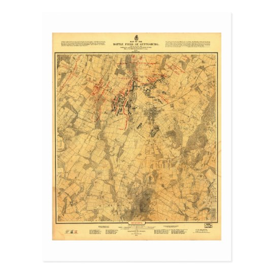 Battlefield of Gettysburg Map by John Bachelder Postcard