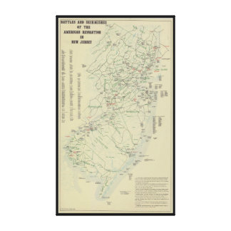 Battles of the Revolutionary War in New Jersey Map Canvas Print