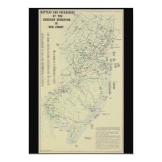 Battles of the Revolutionary War in New Jersey Map Card