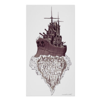 Battleship abstract graphic art poster design