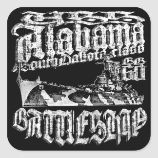 Battleship Alabama Square Stickers Sticker