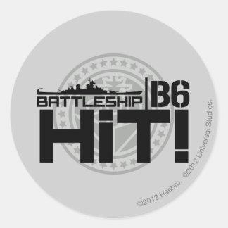 Battleship B6 Hit 2 Round Sticker