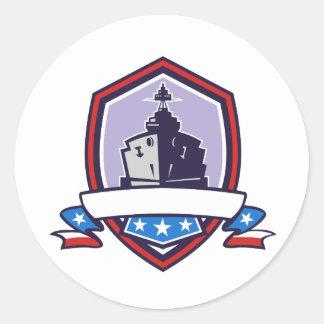 Battleship Stars Stripes Crest Retro Classic Round Sticker