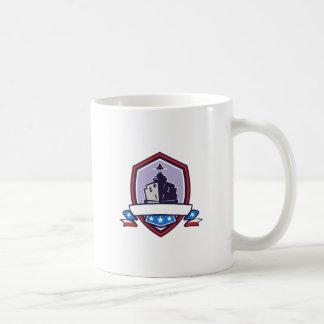 Battleship Stars Stripes Crest Retro Coffee Mug