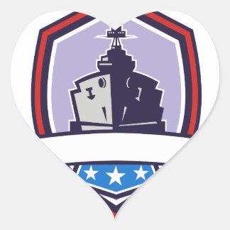 Battleship Stars Stripes Crest Retro Heart Sticker