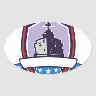 Battleship Stars Stripes Crest Retro Oval Sticker