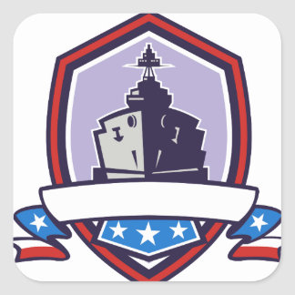 Battleship Stars Stripes Crest Retro Square Sticker