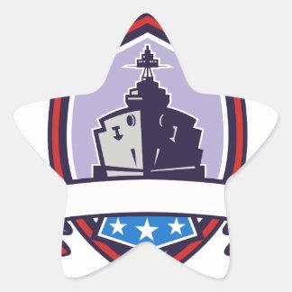 Battleship Stars Stripes Crest Retro Star Sticker