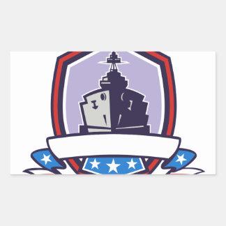 Battleship Stars Stripes Crest Retro Sticker