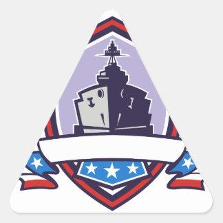 Battleship Stars Stripes Crest Retro Triangle Sticker