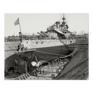 BATTLESHIP U.S.S. OREGON in DRY DOCK 1898 Poster