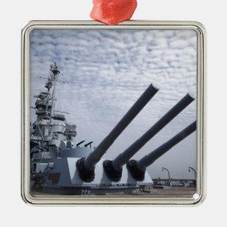Battleship USS Alabama Silver-Colored Square Ornament