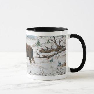 Battling Bull Moose Wildlife Art Scene Mug