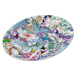 Battling Kites -- Blue Plate