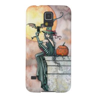 Batty Cat Halloween Witch Fantasy Art Galaxy S5 Cover