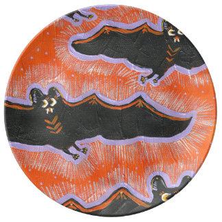 Batty Flight Halloween Porcelain Plate