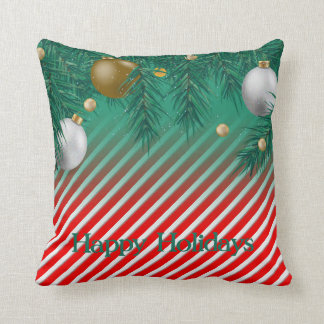 Bauble Candy Cane Throw Pillow