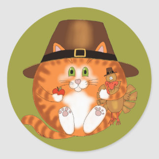Bauble Cat Thanksgiving Classic Round Sticker