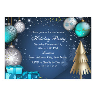 """Bauble Corporate Work Office Christmas Party 5"""" X 7"""" Invitation Card"""