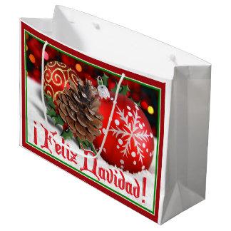 Baubles & Pine Cones - Feliz Navidad Large Gift Bag