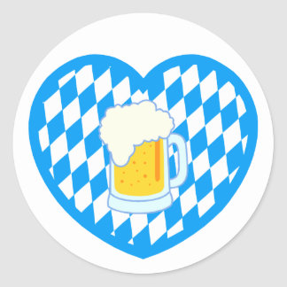Bavaria Bavaria heart beer heart more beer Classic Round Sticker