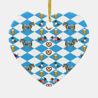 Bavaria beer Breze dachshund horse Ceramic Heart Ornament