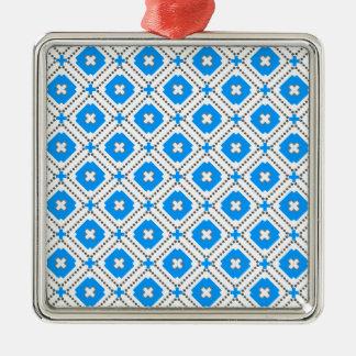 Bavaria Pattern Silver-Colored Square Ornament