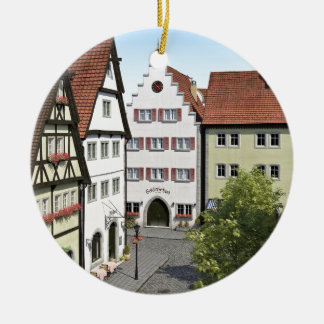Bavaria Town From Above Round Ceramic Ornament