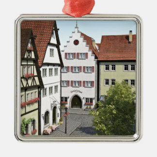 Bavaria Town From Above Silver-Colored Square Ornament