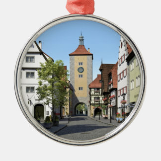 Bavaria Town Main Street Silver-Colored Round Ornament