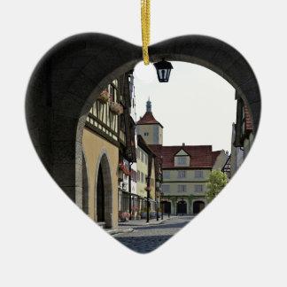 Bavaria Town Through an Arch Ceramic Heart Ornament