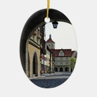 Bavaria Town Through an Arch Ceramic Oval Ornament