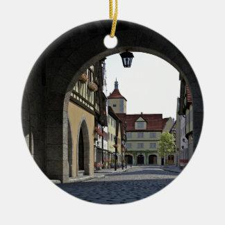 Bavaria Town Through an Arch Round Ceramic Ornament