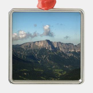 Bavarian Alps near Berchtesgaden Silver-Colored Square Ornament