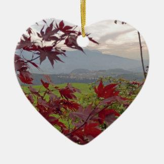 bavarian autumn ceramic heart ornament