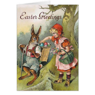 Bavarian Easter Bunny Eggs Victorian Girl Card