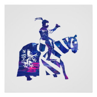 Bavarian Knight  in blue pink Poster