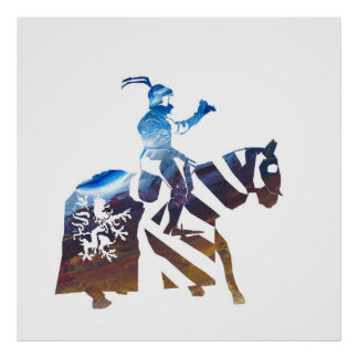 Bavarian Knight  in brown blue Poster